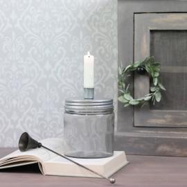 Ljusstake med förvaring 15 cm - zink grå , hemmetshjarta.se