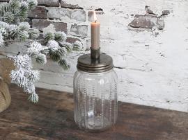 Ljusstake med glasburk H22 / Ø9 cm antik mässing , hemmetshjarta.se