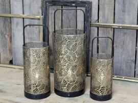 Lykta med mönster inkl lampa & timer H33,5 / Ø12,5 cm antik mässing 1 st , hemmetshjarta.se