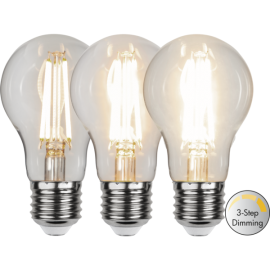 LED-Lampa E27 Ø60 Dim 3-step lm800/60w Clear , hemmetshjarta.se