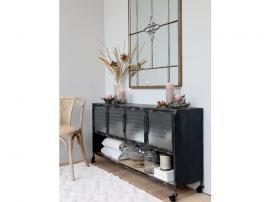 Skänk med frostade glasdörrar och hylla H70.5/L141/W32 cm antik svart , hemmetshjarta.se