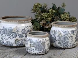 Melun Kruka med franskt mönster Keramik H9,5 / Ø12 cm opal 1 st , hemmetshjarta.se