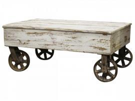 Vecka 21 Franskt soffbord på hjul H40 / L100 / B60 cm antikvitt , hemmetshjarta.se