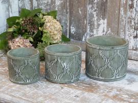 Kruka med fransk mönster H11/Ø13 cm fransk grön 1 st , hemmetshjarta.se