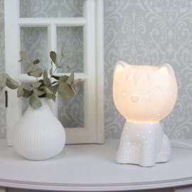 .Lampa porslin Katt 21 cm - vit , hemmetshjarta.se