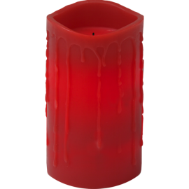 Batteridriven Blockljus LED Drip Röd 7,5x15cm , hemmetshjarta.se