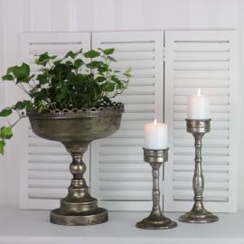 Kruka Pokal med mönstrad kant 30 cm - antiksilver , hemmetshjarta.se