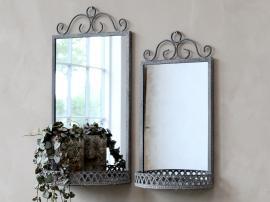 Spegel med hylla H40.5 / L20 / W11 cm antik zink , hemmetshjarta.se