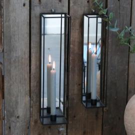 Ljusstage till vägg med spegel H41 / L10 / W10 cm antik kol , hemmetshjarta.se