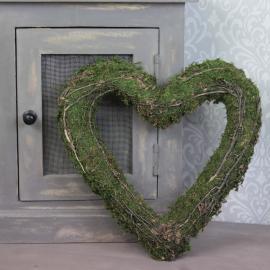 Mosshjärta med grenar 32 cm , hemmetshjarta.se