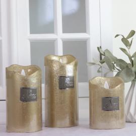 Batteridrivet blockljus med timer guld 11 cm , hemmetshjarta.se