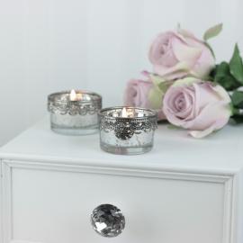 Värmeljushållare med silverdekoration H3,5 / Ø5 cm antik silver , hemmetshjarta.se