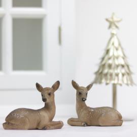 .Liggande hjort med glitter 2-pack , hemmetshjarta.se