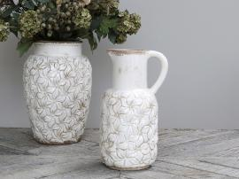 Colmar kanna med blommor Keramik H30 / L16.5 / B14.5 cm antik creme , hemmetshjarta.se