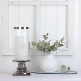 Ljuslykta med glas Lyx silver 10,5 x 28,5 cm , hemmetshjarta.se