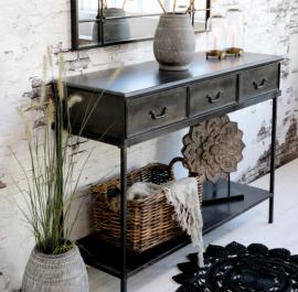 Konsolbord med 3 lådor H91 / L123 / W41 cm antik svart , hemmetshjarta.se