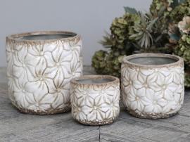 Colmar Kruka med blommor Keramik H13,5 / Ø13,5 cm antik creme 1 st , hemmetshjarta.se