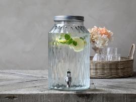 Dispenser i glas med kran 5,5 liter H30 / Ø18 cm cm klar , hemmetshjarta.se
