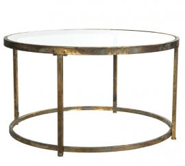 Soffbord med glasskiva 80 cm - guldbrun , hemmetshjarta.se