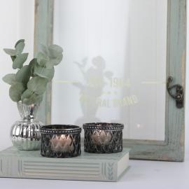 Värmeljushållare med pärlkant H4 / Ø6 cm mörkgrå , hemmetshjarta.se