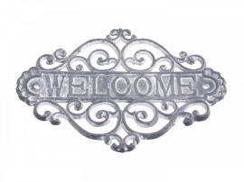 """Vecka 13 Skylt """"Welcome"""" H20 / L28 / B5 cm antikgrå , hemmetshjarta.se"""