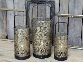 Lykta med mönster inkl lampa & timer H48 / Ø18 cm antik mässing 1 st , hemmetshjarta.se