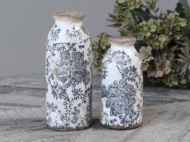 Melun Flaska med franskt mönster Keramik H16 / Ø8 cm opal 1st , hemmetshjarta.se