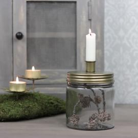 Ljusstake med förvaring 15 cm - antik mässing , hemmetshjarta.se