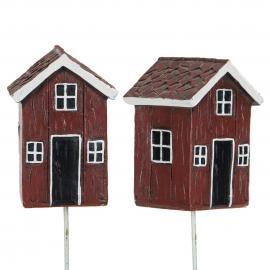 Stuga/Stick Röd Poly 7,5x5cm 2-pack , hemmetshjarta.se