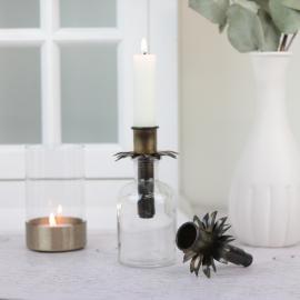 Kronljushållare flaska - antikmässing , hemmetshjarta.se