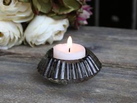Ljusstake för kyrkljus och värmeljus H4 / Ø8 cm grå , hemmetshjarta.se