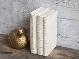 Vecka 40 Gl. Franska böcker för dekoration H17.5 / L11.5 / W8 cm antik creme , hemmetshjarta.se