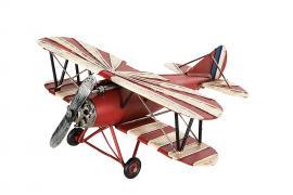 Dekoration Flygplan Röd/Vit Metall 27x28x12cm , hemmetshjarta.se