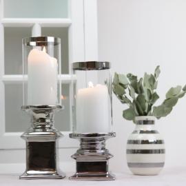 Ljuslykta med glas Lyx silver 22 cm , hemmetshjarta.se