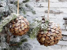 Fleur Grankotte med snö Ø12 cm naturligt 1 st , hemmetshjarta.se
