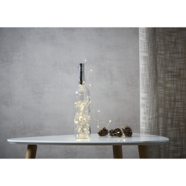 Ljusslinga Dew Drop Batteridriven kork/flaska Varmvit 40 ljus 200cm , hemmetshjarta.se