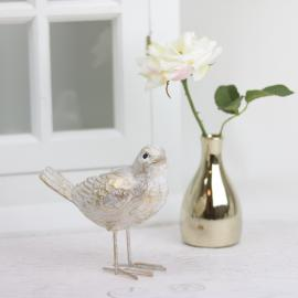 Stående fågel 13,5 cm - guldvit , hemmetshjarta.se