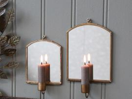 Ljusstake till vägg med spegel H19 / L12 / W3 cm antik mässing 1 st , hemmetshjarta.se