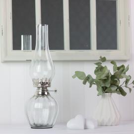 Oljelampa till värmeljus 33 cm - klar/silver , hemmetshjarta.se