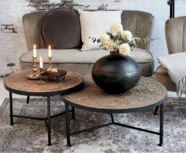 Vecka 30 Soffbord med utskärningar H36,5 / Ø80,5 cm naturligt , hemmetshjarta.se