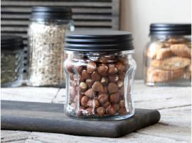 Förvaringsglas med spår och svart lock H11 / Ø9 cm , hemmetshjarta.se