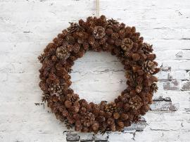 Fleur Krans av kottar med glimmer Ø48 cm naturligt , hemmetshjarta.se