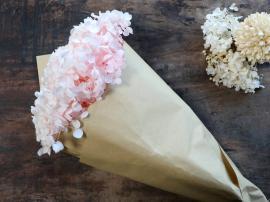 Fleur Äkta Torkad Hortensia blomma 1 st L60 cm rosa i brunt papper , hemmetshjarta.se