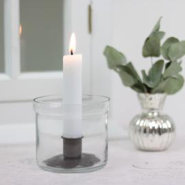 Ljuslykta med metallblomma , hemmetshjarta.se