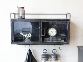 Vecka 21 Skåp Industry med glasdörrar och hängare H45 / L65 / W21 cm antik svart , hemmetshjarta.se