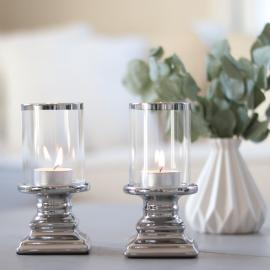 Ljuslykta 2-pack med glass - silver , hemmetshjarta.se