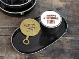 Vecka 40 Kaffestensil Happy Birthday L12,5 / B8,5 cm mässing , hemmetshjarta.se