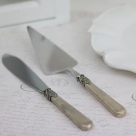 Tårtspade & kniv - antik pärlemo champagne , hemmetshjarta.se