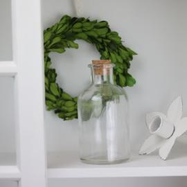 Glasflaska med kork 13 cm - klar , hemmetshjarta.se