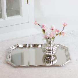 Ljusfat/bricka Lyx 25 x 18 - silver , hemmetshjarta.se